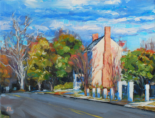"""Winter Light on Trabue's Tavern"", 6x8, oil, Midlothian, VA"
