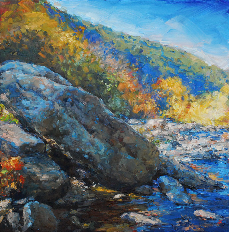 riverbouldersonthemaury_18x18oil_amyhrdonahue