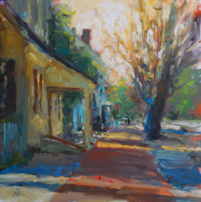 SidewalkStroll_8x8oil_Williamsburg_AmyHRDonahue_HiRes